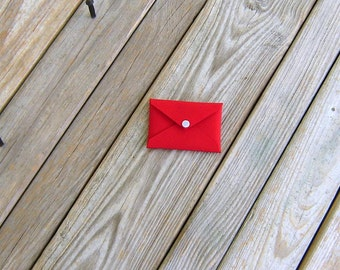 Red Cordura Mini Wallet Card Holder Envelope with Silver Gray Snap