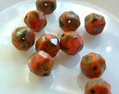 Rare 9mm Czech Glass Coral Salmon Opaque Glass Table Cut Picasso Finish Faceted  Bead (10) BEADS