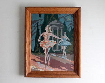 Vintage Framed Ballerina Paint by Number, Fifties Oil Painting Ballet Dance Retro Kitsch