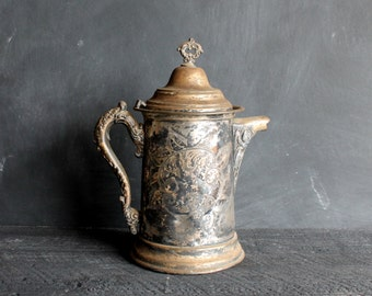 Big Antique Embossed Fancy Coffee Pot, Vintage Silverplated Coffeepot or Tea Pot, Super Shabby French Farmhouse