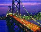 San Francisco Bay Bridge Photo Bridge Photo Night Photo San Francisco Wall Decor