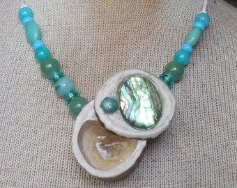 Abalone Shell Carved Shed Elk Antler Pill Box Necklace with Amazonite Aventurine Turquoise Gemstone Beads Large Size Adjustable Length