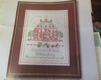 Elsa Williams Counted Cross Stitch Williamsburg Embroidery Kit Governer's Palace Sampler 29105 Complete and Ready to Stitch