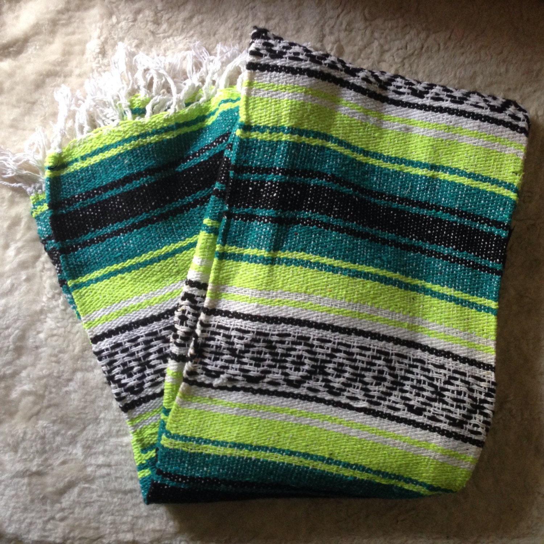 Vintage Serape Mexican Saltillo Blanket Rug Neon Yellow And