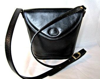 Vintage Leather bucket bag Black Genuine Leather Cross body bag.
