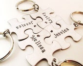 Hand Stamped Puzzle Keychains - Bridesmaid Keychains - Set of 4 - Personalized Bridesmaid Gift - Best Friend Keychains - BFF