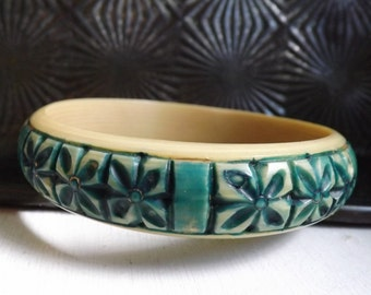 Vintage Art Deco carved celluloid bangle bracelet French ivory floral panel motif over dyed with jade green