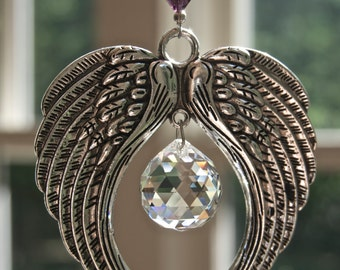 Crystal Suncatcher ANGEL WINGS w/ Clear or AB Swarovski Crystal Ball, Guardian Angel Window Prism, Swarovski Crystal Ornament, Memorial Gift