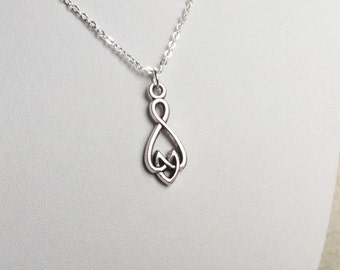 Infinite Love Necklace in antiqued silver, Polyamory Jewelry, infinite love jewelry, heart knot infinity symbol