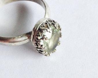 Green Amethyst Ring - Prasiolite Ring - size 9.5