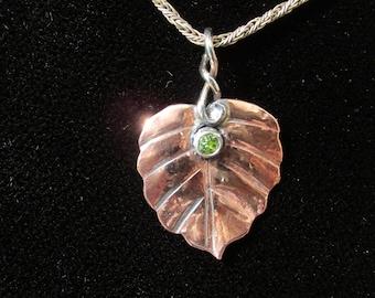 Copper Swedish Ivy and Peridot Brutalist Pendant