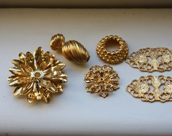 Six  Gold Embellishment Pieces for Crafting and Jewelry Making