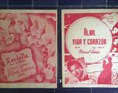 1968 Sheet Music, 2 Mexican Piano Solos, Retro 60s Ephemera Red Print Tengo Music Alma Vida Corazon Roudalla Noche de Estrellas Romantic Set