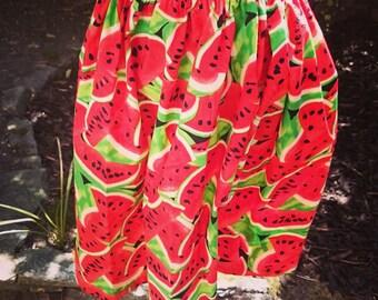 Handmade Watermelon Print Vintage Style Skirt