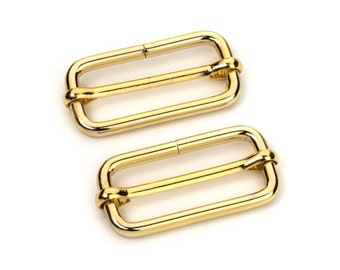 "30pcs - 1 1/2"" Adjustable Slide Buckle - Gold - Free Shipping (SLIDE BUCKLE SBK-125)"