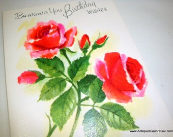 Vintage Birthday Greeting Card, Happy Birthday, Birthday Wishes, Red Pink Roses, Flowers, Fantussy, No. 2 Unused, Unsigned No. Two  (570-15)