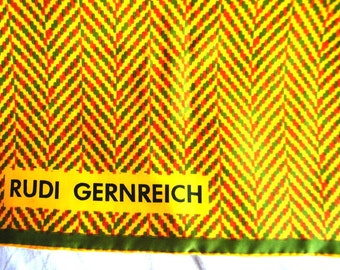 Hollywood vintage 70s multicolor mosaic print silk large scarf. Made by  Rudi Gernreich.