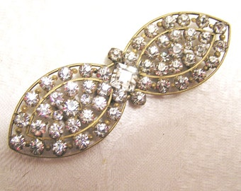 Vintage Czechoslovakia Rhinestone or Crystal Prong Set Belt Buckle. Sparkly and Fun. (J101)