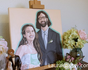 Custom 14x14 Pop Art Wedding Portrait Hand Painted Painting  of Two