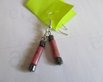 pink tube earrings
