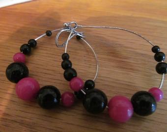 Black pink hoops