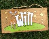 Giraffe Art - Name sign - Custom Name Art - Wooden Childrens Art