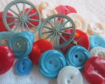 Vintage Buttons - Cottage chic mix of fancy aqua/ turquoise, red and white, lot of 22, old and sweet(july 555)