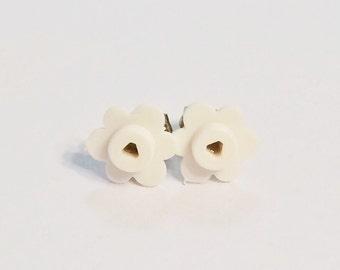 LEGO® Bricks White Flower Earring Studs