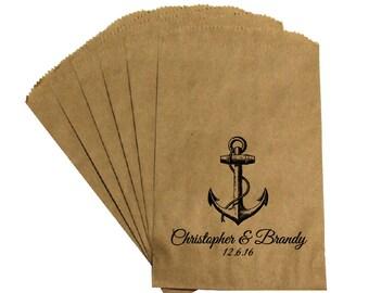 Wedding Favor Candy Bags - Vintage Antique Victorian Nautical Beach Wedding - Anchor - Candy Buffet Bags Favor Bags Treat Bags