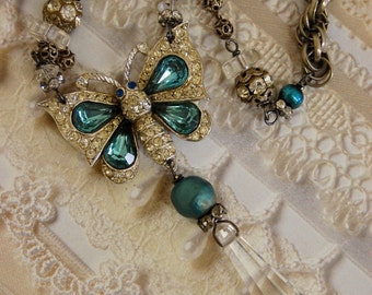 Crystalline Butterfly-Antique Vintage Rhinestone Butterfly Assemblage Necklace