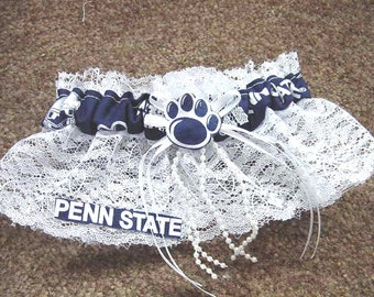 Penn State Nittany Lions College Football Wedding Bridal Bride Lace trim Garter Regular/Plus Size