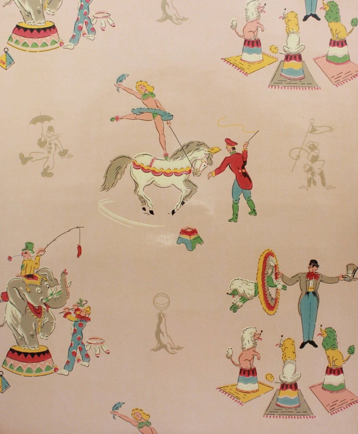 1930s vintage children 39 s wallpaper circus ringleader
