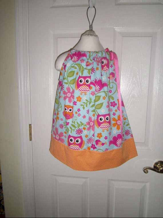 SALE, Girls Dress, Owls, Summer Party Dress, Bright Floral Cotton, Birthday, Party,Back to School, Tweens, Toddlers, Infant