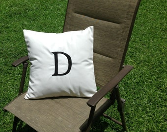 Outdoor Pillows, Monogrammed Pillow Cover Alphabet Pillow  Patio Cushion  Cover, Water Resistance Letter