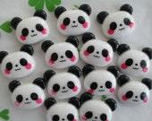 Panda bear cabochons 6pcs 21mm x 18mm New item