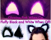 Fluffy Black Glowing Pink Clip On GeekStar Cat Ears. LED Custom Ravewear Costume Cosplay Outfit. Light Up Festival Anime Glow Ears