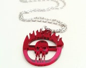 Mad Max Chrome Skull Geek Dangle Necklace, Furiosa Cosplay GeekGirl Fashion Blood Red Apocalyptic Goth Punk Badass Pendant Charm Accessory