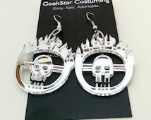 Mad Max Chrome Skull Geek Dangle Earrings, Furiosa Cosplay GeekGirl Fashion Silver Apocalyptic Goth Punk Badass Pendant Charm Accessory