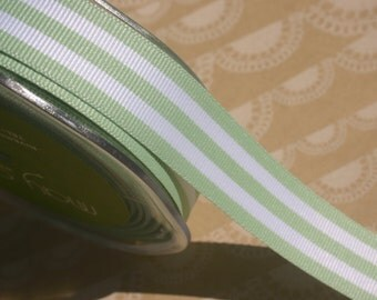 "Mint Green Grosgrain Trim - Horizontal Stripes - May Arts Ribbons - 7/8"" Wide - 4 Yards"