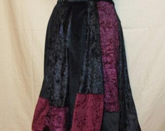Black and Maroon Panne Crushed Velvet Velour Short Panel Skirt Elastic Waistband Size X Small