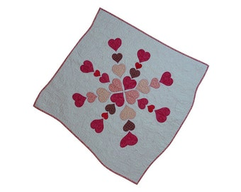 Quilted Handmade Table Topper Applique Pink Floral Heart Medallion Free USA Shipping