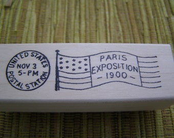 Paris Exposition 1900 French Shabby Chic wood mounted Rubber Stamp