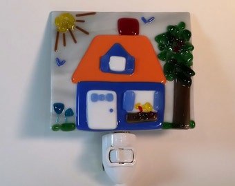 Fused Glass Whimsical Cottage Nightlight