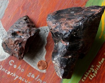 Lot of two pieces of raw rough mahogany obsidian for knapping, crafts, jewelry and more 2lb+