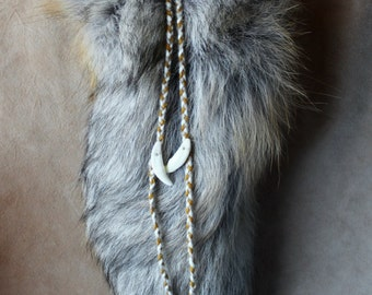 Real Golden island fox fur tail hair charm clip with coyote teeth for costuming, ritual, dance and more