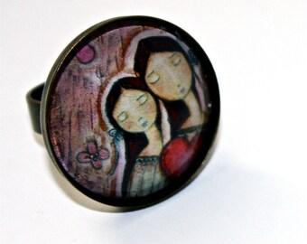 Un Solo Corazon - Mother Daughter Love -  Adjustable Ring Original Art Jewelry by FLOR LARIOS