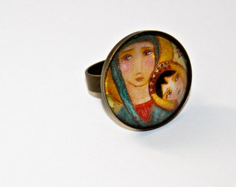 Our Lady of Perpetual Help -  Adjustable Ring Original Art Jewelry by FLOR LARIOS