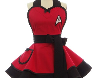 Retro Apron - Scotty Womans Aprons - Vintage Apron Style - Pin up Red Engineer Trekkie Rockabilly Cosplay