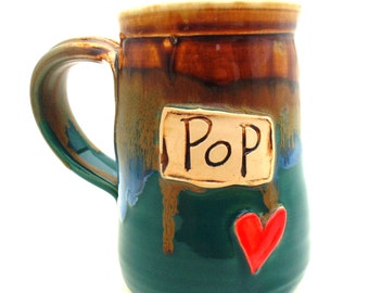 Handmade Pottery Mug ceramics and pottery Pop teal and sky blue