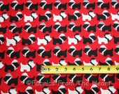 Jingle 3 Black & White Scottie Dogs on Red BY YARDS Robert Kaufman Cotton Fabric